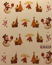 Nail Art Water Decals Merry Christmas Tree Snowman Church Santa Cottage BLE128