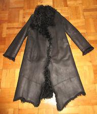 NEW PLEIN SUD JEANS LONG BLACK SHEARLING LAMB FUR ASYMMETRICAL COAT 40/8