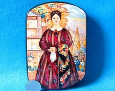 Russian hand painted LACQUER trinket Box Kustodiev hand painted Merchant Wife