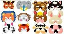 12 mixed ANIMAL PARTY MASKS FoAm kids birthday bag toy filler costume dress up
