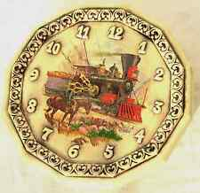 "OLdVintage ""First Transcontinental Railroad"" Scene Porcerlain/Ceramic Wall Clock"