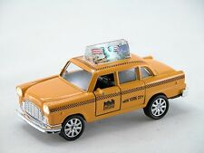 Yellow taxi with *Bright light & Sound* New York City Die Cast Metal car