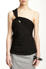 L.A.M.B by GWEN STEFANI Knit Draped Bustier ONE SHOULDER Top BLACK Draped S $275