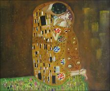 Gustav Klimt the Kiss Repro, Quality Hand Painted Oil Painting, 20x24in