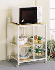 White and Natural Kitchen Microwave Serving Cart with Casters by Coaster 2506