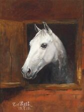 PAINTING ANIMAL PORTRAIT WHITE HORSE VON RETH ART PRINT POSTER LAH477A