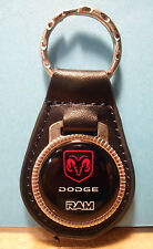 DODGE  RAM   KEY CHAIN ~  BLACK LEATHER  FOB