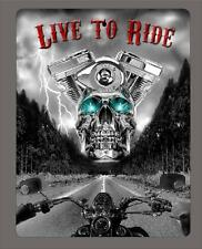"""""""LIVE TO RIDE"""" Skull and Motorcycle metal sign- 9""""x12"""" - FREE SHIPPING"""