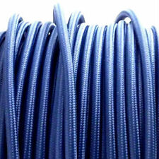 NAVY BLUE vintage style textile fabric electrical cord cloth cable 3 core wire