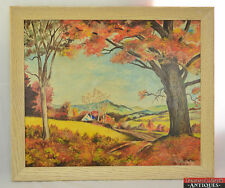 Vtg OOAK Acrylic Painting Autumn Hills Oak Signed & Dated by Artist Kern 2/15/64