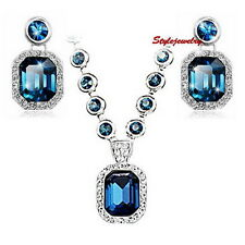 Blue Sapphire Made with Swarovski Crystal Necklace Earring Wedding Set XS23