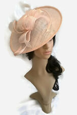 *NEW NUDE SINAMAY & FEATHER FASCINATOR HAT.Shaped saucer disc,Wedding.