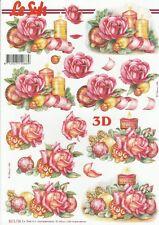 Feuille 3D à découper A4 - 8215.736 - Fleur Noël - Decoupage Sheet Christmas