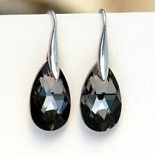 925 Sterling Silver Earrings Swarovski Elements Crystal Teardrop Silver Black