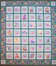 PASTEL BUNNIES~MACHINE EMBROIDERED QUILT OR WALL HANGING