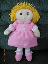 "15"" Cloth Rag Doll ~ Personal Creations ~ Julie ~ Blonde Pig Tails & Pink Dress"