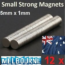 12 pcs Disc Small Rare Earth Neodymium N35 Super Strong Magnets Craft 5mm x 1mm