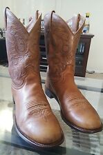Justin Brown Leather Cowboy Boots Shoes Men's 10.5 E