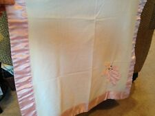 Vintage Baby Blanket, Pink Satin Trim with Bunny.