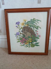 Fab Rustic HEDGEHOG + FLOWERS Cross Stitch Needlepoint Wall Hanging+Framed+Glass