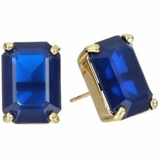 EMERALD CUT KATE SPADE STUD EARRINGS FACETED RICH SAPPHIRE BLUE DEEP NAVY