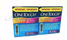 COMBO SALE NEW One Touch Ultra Diabetic 100 (2*50) Test Strips Blue Exp 06/2018