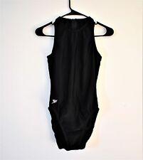 Vintage 90s Speedo Zip Back High Neck Modest Racing 1 Piece Swimsuit 36/12