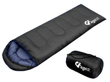 EGOZ Peanut Sleeping Bag Black 3 Seasons Warm Hiking Outdoors Camp Easy To Carry