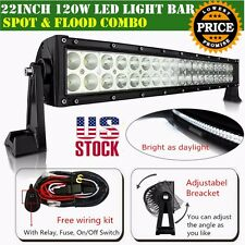 """22 inch Led Light Bar Curved Offroad With Wiring Kit Mounting Brackets Jeep 20"""""""