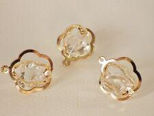 3 x pâle rose plaqué or fil pendentifs/cages: bnrgwpend 03-fleur