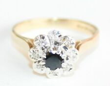 Very Pretty Vintage 9ct Gold Sapphire & Diamond Cluster Ring Size M