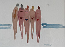 Maine Artist Bonnie Nelson Signed Watercolor Painting Ladies At The Beach