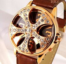 XL Homme Cuir Marron Bling Or Cristal Rappeur Spin Ice Proxénète Gangsta Montre
