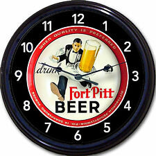 """Fort Pitt Brewing Co """"Beer Tray"""" Clock Pittsburgh PA Waiter Ale BrewMan Cave10"""""""