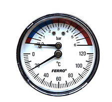 63mm Thermomanometer Temperature and Pressure Gauge up to 120 C and 6 Bar Rear