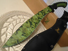 "Elk Ridge Big Green Kukri Combat Hunter Machete Sword Knife 3 Snap Sheath 19"" OA"