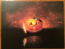 Tin Sign Vintage Halloween Glowing Pumpkin Spider Candles