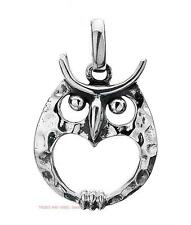 OWL HEART Pendant 925 Sterling Silver Sea Gems 18mm long wisdom birds NEW