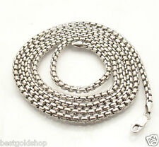 """36"""" 3.5mm Mens Round Venetian Box Chain Necklace Solid Sterling Silver No Tarnis"""