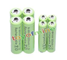 4x Batería recargable AA 3000mAh + 4x AAA 1800mAh 1.2V Ni-MH Verde