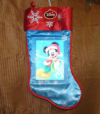 "Disney Mickey Mouse 18"" blue red 3d holographic image Christmas stocking - NWT"