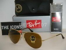 New Mens Sunglasses Ray-Ban RB3025 58mm 001/33 Aviator Gold/Brown -tiny defect