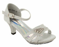 GIRLS SILVER GLITTER DIAMANTE BRIDESMAID WEDDING PARTY SANDALS SHOES SIZE 10-2