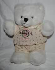 "Hard Rock Hotel Las Vegas, 12"" plush bear, white, knit outfit, Hard Rock Cafe"