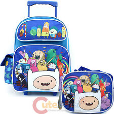 "Adventure Time 16"" Large School Roller Backpack with Lunch Bag Set- New Friends"
