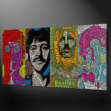 "BEATLES TYPOGRAPHY MUSIC MODERN WALL DESIGN CANVAS PRINT ART 20""x12"" FREE UK P&P"