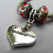 Granddaughter Heart Charm And Birthstone European Beads For Charm Bracelets