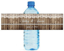 """Rustic wood and Lace Country Wedding anniversary Water Bottle Labels 8""""x2"""""""