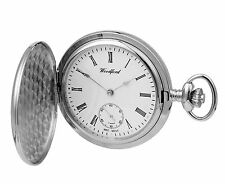 Woodford Chrome Plated Mechanical Hunter Pocket Watch. Hand Wind  ref 1070