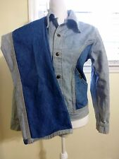 Vtg Lee Jean Jacket and Pants Jeans Suit Reversible Set Blue Two Tone Small